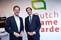 Minister-president Mark Rutte en Mark Dijk, kandidaat voor het Europees Parlement voor de VVD, praten na in de Dutch Game Garden.jpg