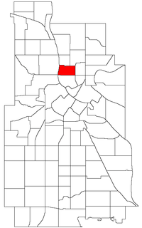 Location of Sheridan within the U.S. city of Minneapolis
