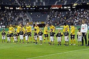 Mjällby AIF - Mjällby AIF players lining up before a 2013 Allsvenskan game.