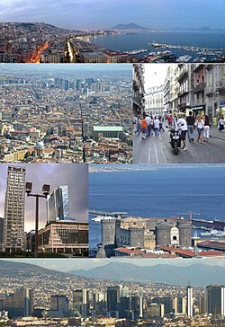 Top:Panorama view of Mergellina Port, Mergellina, Chiaia area, over view of Mount Vesuvius, Second left:Naples Directional Center (Centro Direzionale di Napoli) and Spaccanapoli Street, Second right:Via Toledo Street, Third left:Naples Media Center, Third right:Castel Nuovo (Maschio Angioino), Bottom:View of Centro Direzionale di Napoli, from Naples Railroad Station