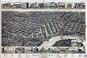 History of Montgomery, Alabama - 1887 bird's eye illustration of Montgomery.