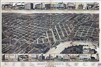 Montgomery, Alabama - 1887 bird's eye illustration of Montgomery