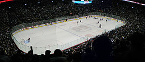 Sports in Montreal - Inside the Bell Centre during a hockey game.