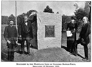 Guilford Courthouse National Military Park - Dedication of Monument to members of the Maryland Line at the Battle of Guilford Court House, Maryland Historical Society, 15 October 1892