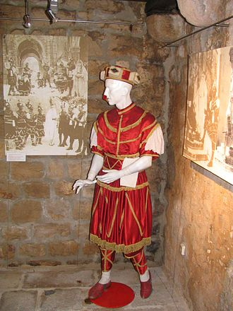"""Moreška - Costume worn by the """"White"""" King, representing the side of the Croats"""