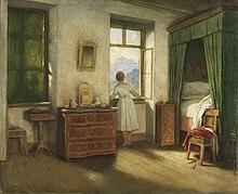 Gemälde: Wohnraum, Frau am geöffneten, sonnendurchfluteten Fenster.