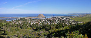 Estero Bay (California) - View of the northern 2/3rds of Estero Bay, Morro Rock, and the entrance of Morro Bay, looking West from Black Hill.