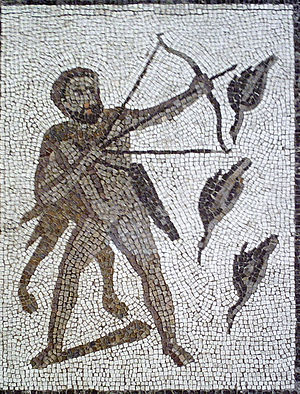 Stymphalian birds - Heracles and the Stymphalian birds. Detail of a Roman mosaic from Llíria (Spain).