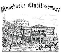 Mosebacke Etablissement, 1887.   Tuschtegning af Gustaf Axel Broling.