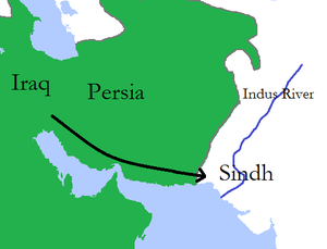 Umayyad campaigns in India - A map of Muhammad bin Qasim's expedition into Sindh in 711 AD
