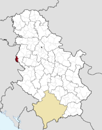Location of the municipality of Mali Zvornik within Serbia