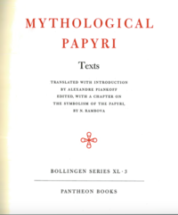 Page from a book which reads Mythological Papyri in large text
