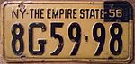 "NEW YORK 1956 EMPIRE STATE, 1955 plate with ""56"" TAB - Flickr - woody1778a.jpg"