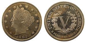 Liberty Head nickel - Image: NNC US 1883 5C Liberty Nickel (no cents)