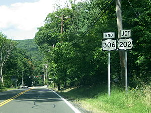 New York State Route 306 - The northern terminus of NY 306 at US 202 in Pomona.