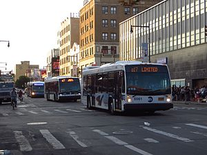 Q17 (New York City bus) - A Jamaica-bound Q17 Limited (front) and local (middle) departing Downtown Flushing.