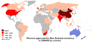 Immigration to New Zealand - Image: NZ residency by country of nationality 2004 5FY