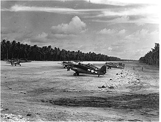 Nanumea Airfield - F4F-4s of VMF-441 on alert at Nanumea 23 October 1943