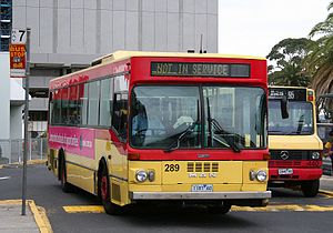 National Bus Company (Australia) - Ansair bodied MAN SL200 and Newnham Custom bodied Mercedes-Benz LO812 at Westfield Doncaster in March 2008