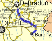 Highway map of road from Rishikesh to Bareilly