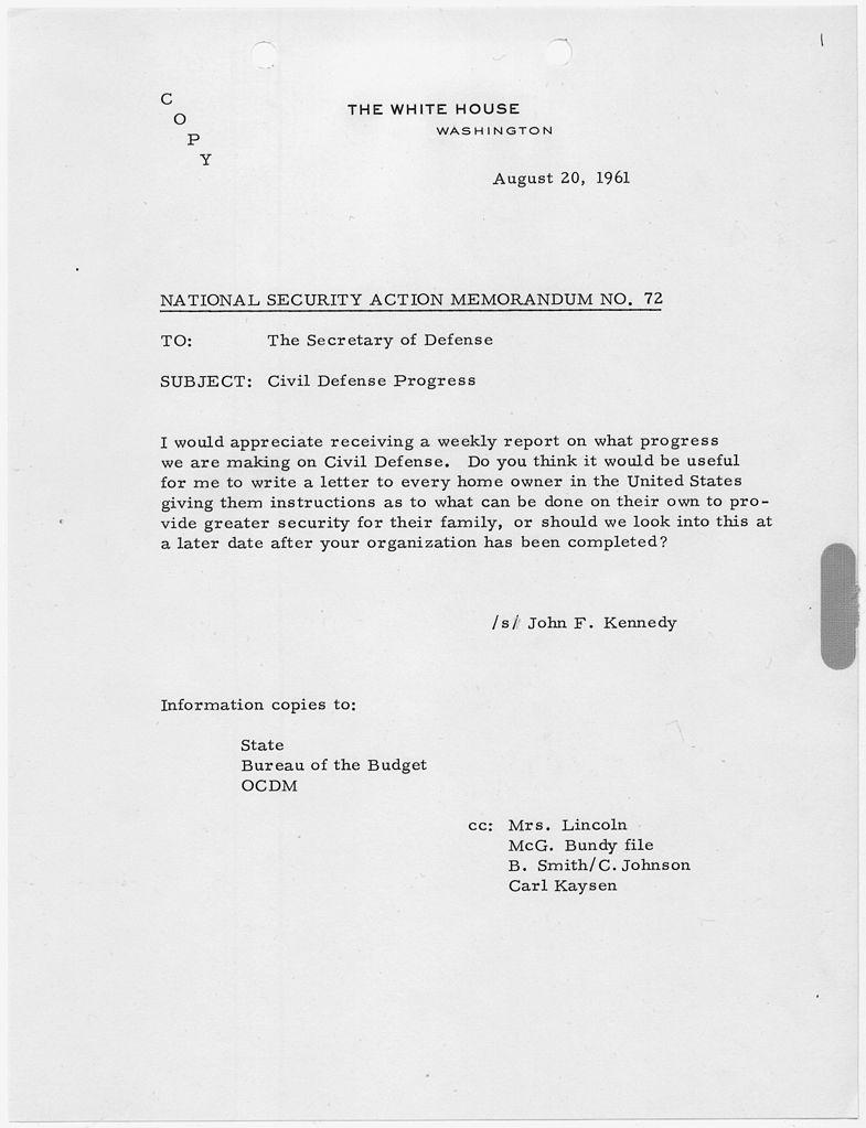 Filenational Security Action Memorandum No 72 Civil Defense