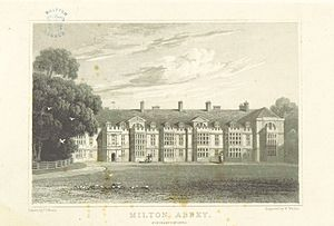"Milton Hall - The north front of ""Milton Abbey""  by John Preston Neale from volume 3 of Views of the Seats of Noblemen and Gentlemen in England, Wales, Scotland and Ireland (1818)"
