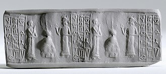 "Register (art) - This cylinder seal has three vertical ""column"" registers of script"