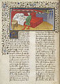 Nectanebus enters Olympias' chamber - La Vraye Histoire du Bon Roy Alixandre (early 15th C), f.8v - BL Royal MS 20 B XX.jpg