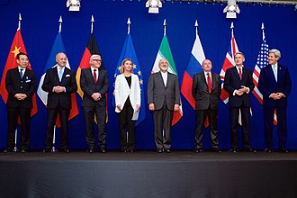 "Rolex Learning Center - The ministers of foreign affairs of France, Germany, the European Union, Iran, the United Kingdom and the United States as well as Chinese and Russian diplomats announcing the framework of a Comprehensive agreement on the Iranian nuclear programme, in the ""Forum Rolex"" auditorium of the EPFL Learning Centre (2 April 2015)."