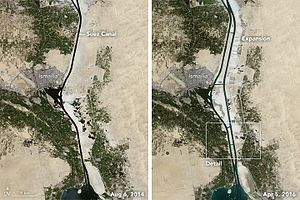 Suez Canal Area Development Project - Old and New Suez Canal aerial