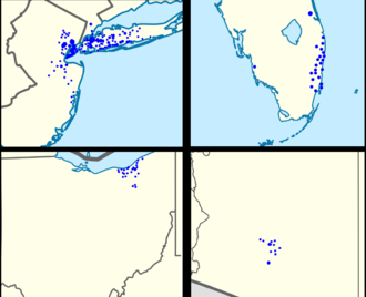 New York Community Bank - New York Community footprint in the New York metropolitan area (upper-left), southern Florida (upper-right), Ohio (lower-left), and Arizona (lower-right)