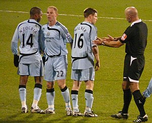 2007–08 Newcastle United F.C. season - N'Zogbia, Butt and Milner in the wall at Fulham, December 2007