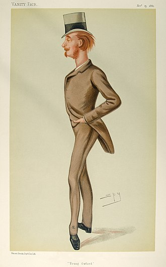 "Newton Wallop, 6th Earl of Portsmouth - ""Young Oxford"", the 6th Earl of Portsmouth when Viscount Lymington, caricature by Spy in Vanity Fair, November 1880."