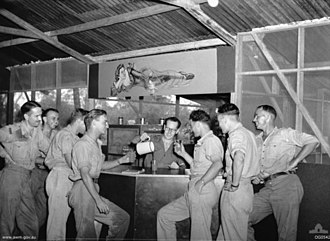 No. 12 Squadron RAAF - No. 12 Squadron aircrew in the bar of the aircrew mess at Merauke