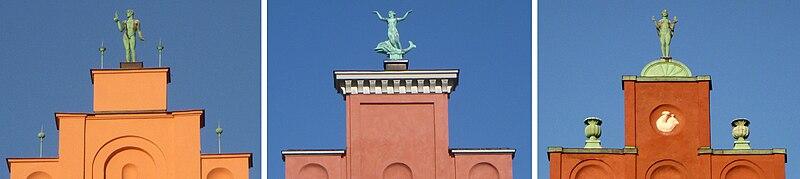 Skulpturer skabt af Aron og Gustaf Sandberg på trappegavllene Nord Mälarstrand 28-30