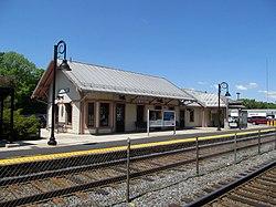 North Billerica station building from northbound platform, May 2016.JPG