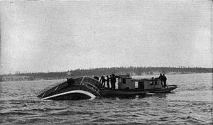 North Pacific (sidewheeler) - North Pacific sinking, with the Rothschild insurance launch alongside.