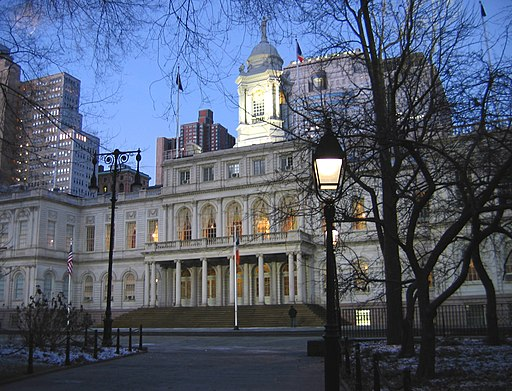 New York City Hall. Photo by Aude. Creative Commons Attribution-Share Alike 2.5 Generic license.