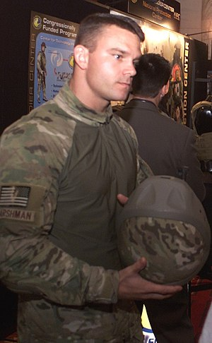 MultiCam - A U.S. Army soldier at the U.S. Capitol in June 2005, modelling an early prototype MultiCam combat shirt at a military technology convention.
