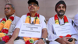 One Rank, One Pension - Col Pushpender Singh and Hav Major Singh on fast-unto-death at Jantar Mantar OROP protest site.
