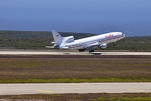 OSCs Lockheed L-1011 N140SC takeoff at Vandenberg AFB for its flight to Kwajalein.jpg