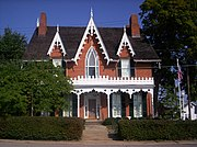 Oak Hill Cottage, Mansfield, Ohio: Carpenter Gothic trim on a brick house in the manner of A.J. Davis's Rural Residences