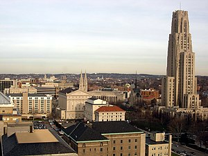 Oakland (Pittsburgh) - Looking east over the University of Pittsburgh and Schenley Farms Historic District