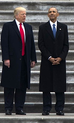 Heights of presidents and presidential candidates of the United States -  Donald Trump and Barack Obama on Donald Trump's inauguration.