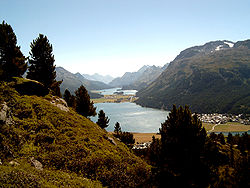 The Upper Engadin valley above St Moritz