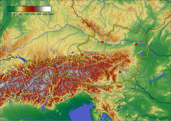 A topographic map of Austria showing cities with over 100,000 inhabitants