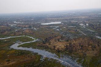 Okavango Delta - Aerial view of Delta as floodwaters recede, August 2012