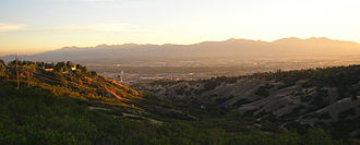 Salt Lake Valley - A portion of the Salt Lake Valley with Oquirrh Mountains in the background as seen looking southwest from City Creek Canyon.