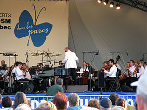 Canadian music genres - the Montréal Symphony Orchestra with conductor Jean-François Rivest August 2008.