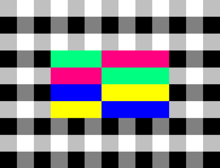 ORF colour chequerboard test card used in the 1980s. This test card was also used by NOS in the Netherlands.